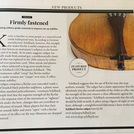 """STRAD VOL.129 NO.1542 Oct. 2018 in the section """"New Products"""" about our SCHILBACH and our cevlar tail guts."""