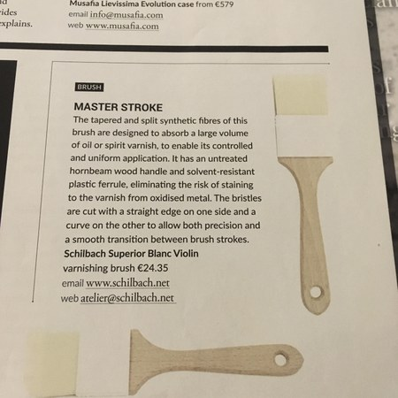 """STRAD VOL.129 NO.1541 Sept. 2018 in the section """"New Products"""" about our Superior Blanc."""