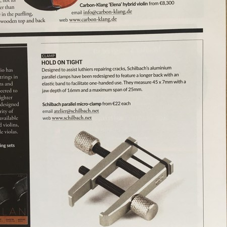 """STRAD Vol.130 No.1555 Nov. 2019 in the section """"New Products"""" about our mini and micro parallel clamps"""